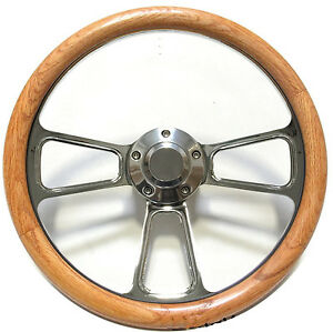 Hot Rod Street Rod Rat Rod Truck Real Oak Billet Steering Wheel Horn