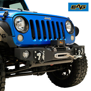 Eag Stubby Front Bumper Black W Winch Mount Plate Fit For 07 18 Jeep Jk Wrangler