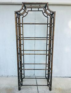 Vintage Etagere Faux Bamboo Hollywood Regency Tortoise Pagoda Metal Chinoiserie
