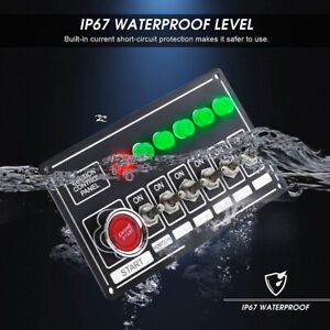 12v Black Ignition Switch Panel Engine Start Push Button Led Toggle Kit 6 Gang