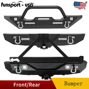 Powder Coated Front Rear Bumper W Led Lights For 2007 2018 Jeep Wrangler Jk