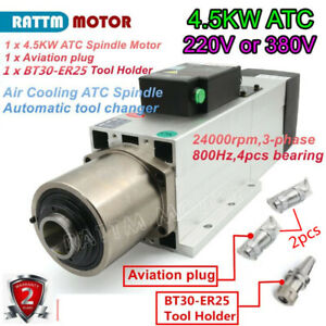4 5kw Bt30 Atc Automatic Tool Change Air Spindle Motor Milling Cnc Ac 220v 380v