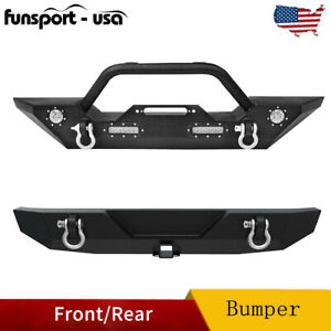 Powder Coated Front Rear Bumper W D rings For 2018 2020 Jeep Wrangler Jl