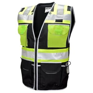 Vero1992 e Engineer Safety Vest High Visibility Reflective Black Series Mesh