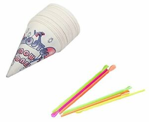 Concession Essentials Snow Cone Set 400 Snow Cone Cups And Straws Set 200 6oz