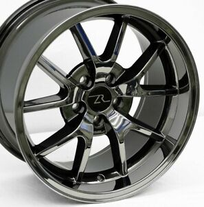 18 Black Chrome Mustang Fr500 Style Wheels Staggered 18x9 18x10 5x114 3 94 04
