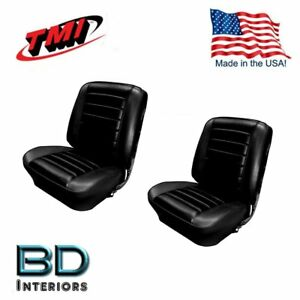 1965 Chevelle Front Bucket Seat Rear Bench Upholstery Black In Stock By Tmi