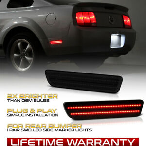 dark Smoke Red Smd Led Rear Side Marker Light Lamp Set 05 09 Ford Mustang S197