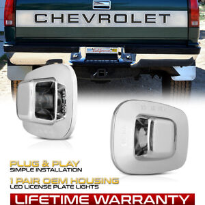 Chrome Chevy C K 1500 2500 3500 Oe Style Rear Bumper Tag Lights License Lamps