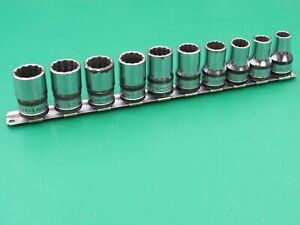 Vintage Snap On 310swmy 10 Pc Metric 12 Point Shallow Socket Set 10 19 Banded