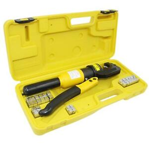 Hydraulic Wire Battery Cable Lug Terminal Crimper Crimping Tool 9 Dies 10 Ton