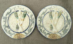 Lot of 2 Antique Wasmuël Barbotine Majolica Asparagus Plates signed c 1890