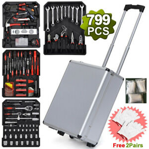 799pcs Tool Set Mechanics Tool Kit Wrenches Socket W Trolley Case Box And Gloves