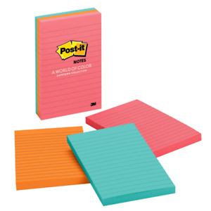Post it Notes lined 4 x6 3 pk 100 Sh pad cape Town Ast