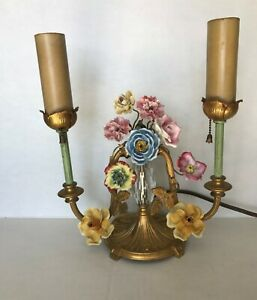 Antique French Table Lamp With Porcelain Flowers Bouquet 11 Height