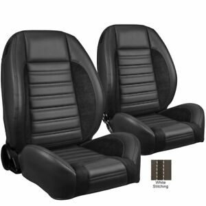 Tmi Pro Series Sport R W White Stitch Bucket Seats For Chevelle Nova Camaro