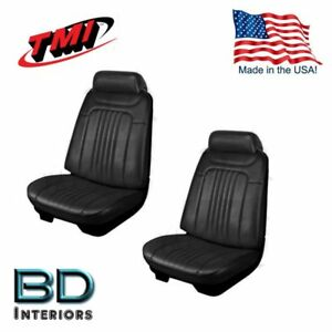 1971 1972 Chevelle Front Buckets Rear Seat Upholstery Set Black Made In Usa