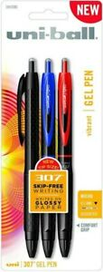 Uni ball 307 Retractable Gel Pens Micro Point 0 5mm Assorted Color Pen 3 Pack