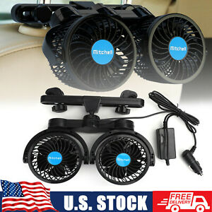 12v Electric Auto Cooling Fan Dual Head Stepless Speed Rear Seat Car Air Fan A3