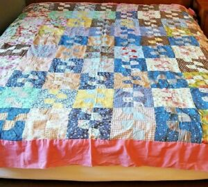 Antique Vintage Patchwork Quilt Top Cotton Prints Blue Pink Lavender 78x84