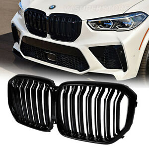 Dual Slats Front Bumper Kidney Grill Grille For 2018 2020 Bmw X5 G05 40i 50i 4dr
