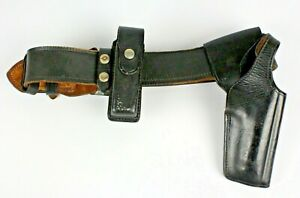 Vtg Bianchi 1980 Leather Security Police Duty Belt Size 30 With Holster Knife