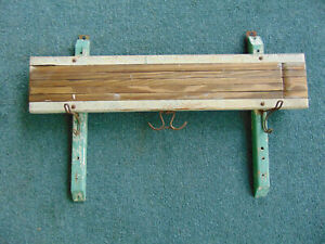 Antique Clothes Laundry Wash Room Wooden Wall Mount Ten Arm Drying Rack 3 Hooks