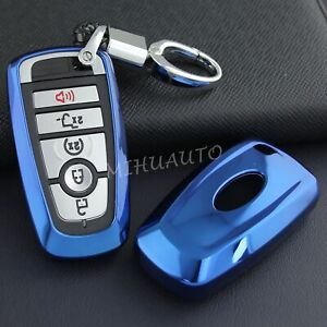 Smart Car Key Fob Chain Cover Case Ring For Ford Mondeo Lincoln Blue