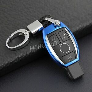 Car Key Fob Cover Case Chain Protector For Mercedes Benz Amg Accessories Blue