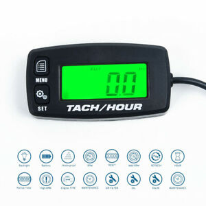 Motorcycle 2 4 Strok Lcd Hour Meter Gas Rpm Digital Tachometer Gauge Spark