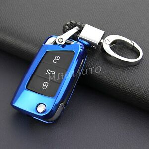 Flip Car Key Fob Chain Cover Case For Volkswagen Skoda Octavia Karoq Kodiaq Blue