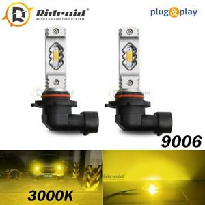 9006 Hb4 Led Headlight Kit High Low Beam Fog Lights Cob 3000k Yellow Bulbs Light