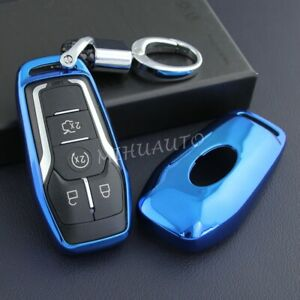 Smart Key Case Cover Fob Chain For Ford F 150 Fusion Mondeo Explorer Edge Blue
