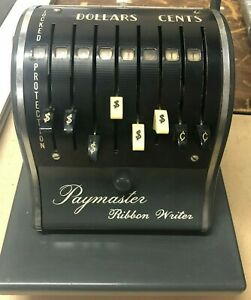 Vintage Paymaster Ribbon Writer Check Writer Excellent Condition Working