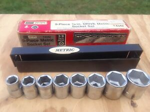 Vintage Craftsman V 9 Pc Metric Shallow Socket Set 3 8 Dr 4342 W Tray Box