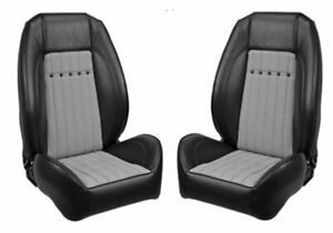 Tmi Pro Series Sport Bucket Seats For 1968 Camaro Black W Houndstooth Brackets