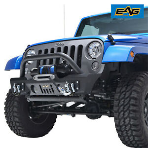 Eag Stubby Front Bumper With Fog Light Hole Fit 07 18 Jeep Wrangler Jk