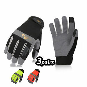 Vgo 3pairs Synthetic Leather Work Gloves For Men Mechanic Gloves sl7584