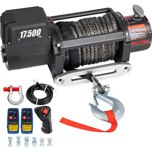 17500lbs Electric Winch Waterproof Truck Trailer 85ft Synthetic Rope Off road