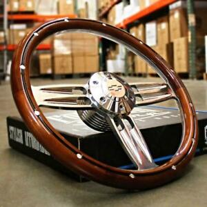 Beautiful Mahogany And Billet Double Barrel 14 Steering Wheel With Chevy Horn