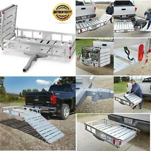 New Flip Up Hitch Cargo Carrier With Ramp Folding Aluminum Small Vehicles Mowers