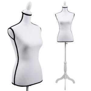 Female Canvas Mannequin Torso Dress Form Clothing Display W Black Tripod Stand