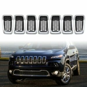 Set Black Chrome Honeycomb Mesh Chrome Grill Insert For 2014 2018 Jeep Cherokee