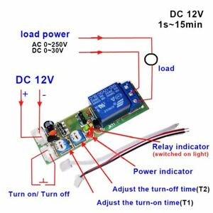 Dc 12v Infinite Cycle Trigger Delay Timing Timer Relay On Off Loop Module