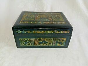 Vintage Hand Carved Hand Painted Folk Art Hinged Wooden Box Animals