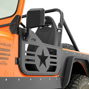 Eag Military Tubular Door With Side View Mirror Fit 76 95 Jeep Wrangler Cj7 Yj