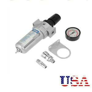 1 4 Air Compressor Filter Oil Water Separator Trap Tools W Regulator Gauge Usa