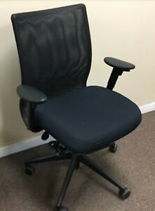 700 Steelcase Jersey Desk Arm Chair Executive Office Black Mesh Back Adjustable