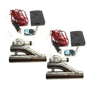 2pcs 2 5 od Electric Exhaust Valve Cutout Downpipe System Y Pipe W Remote Kit