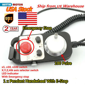 4 Axis Handwheel 100 Pulse 5v Mpg Pendant With Emergency Stop For Cnc System us